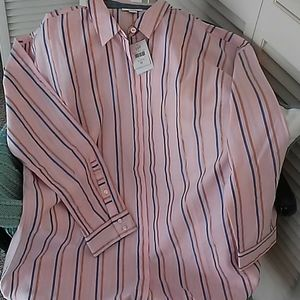 Striped blouse with hidden button placket.
